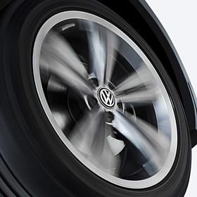 Dynamische naafkapjes VW met stilstaand logo. (Nieuwe VW logo)